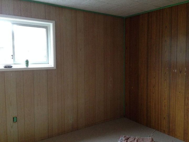 how to paint that old grooved wood paneling hometalk. Black Bedroom Furniture Sets. Home Design Ideas