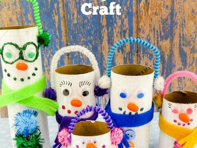 snowmen family toilet paper roll craft