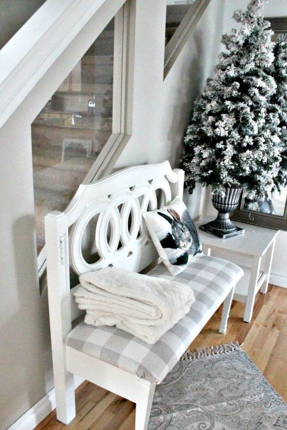 diy farmhouse bench converted from twin headboard
