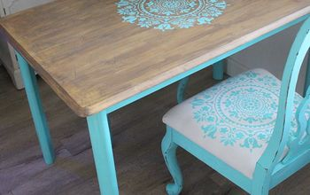 curbside table gets a gratitude stencil makeover