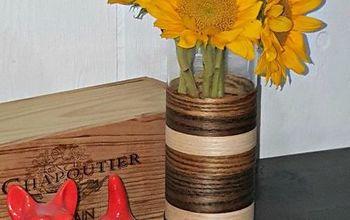 diy mid century modern inspired wood veneer vase