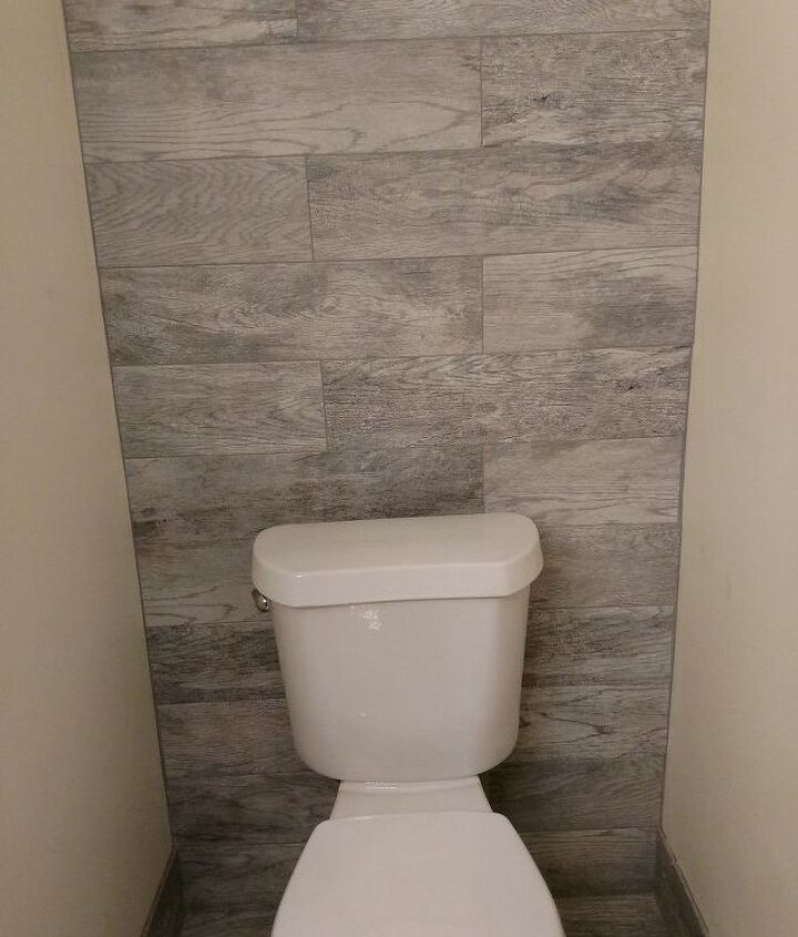 guest bathroom with toilet closet makeover