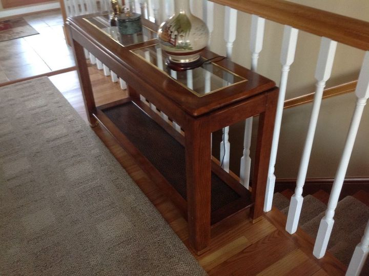q how do i update this wood wicker glass couch table
