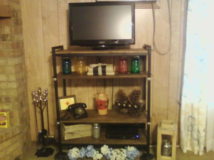 Industrial Farmhouse Entertainment Center From A Old Rolling Cart