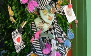 create a teapot wreath for a mad tea party