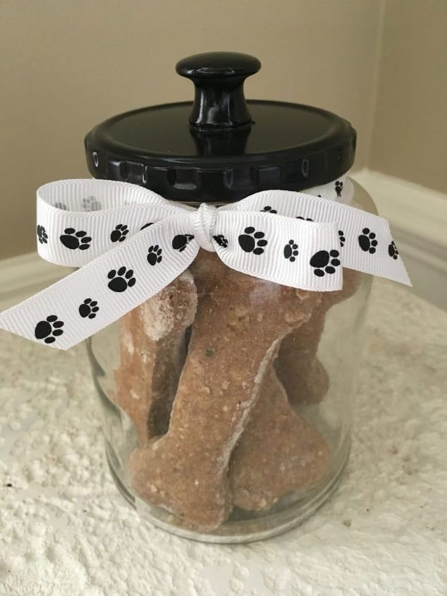 s 25 ways to use those pickle jars you ve been saving, An adorable treat jar for your pets
