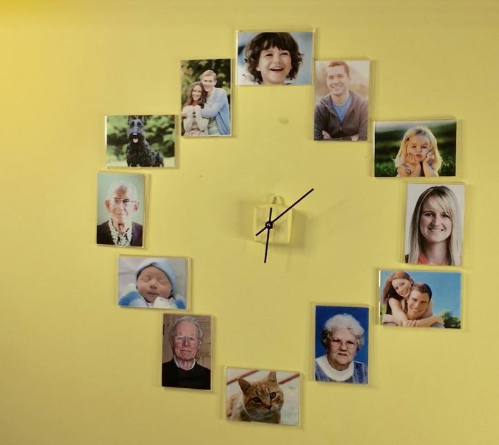 s 20 ways to make your own personalized clock, Family Photo Clock