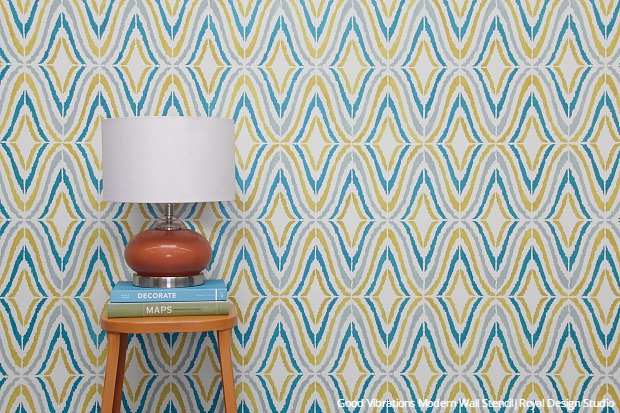 s 25 stencil patterns you ll wish you d seen sooner, Good Vibrations Modern Wall Stencil