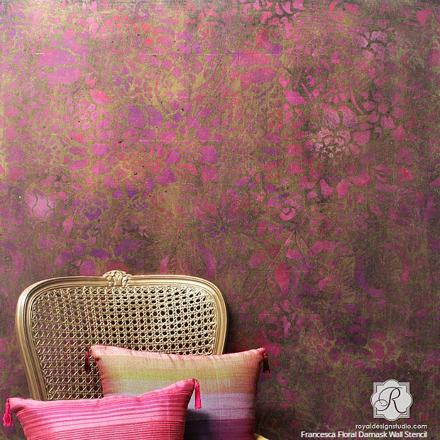 s 25 stencil patterns you ll wish you d seen sooner, Francesca Floral Damask Wall Stencil