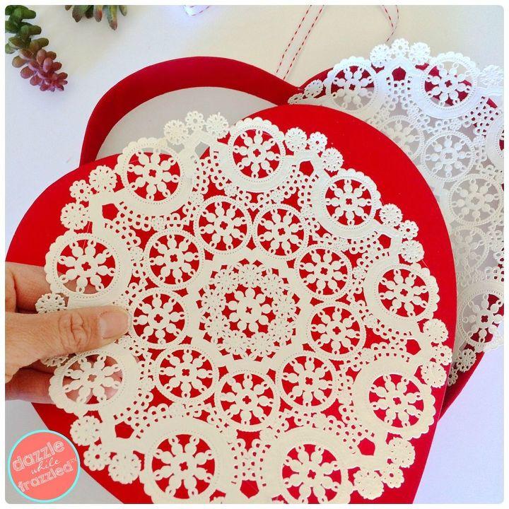 Glue paper doilies on chocolate heart box.