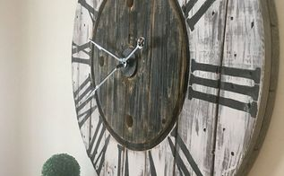repurposed wire spool clock