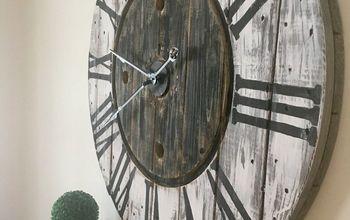 repurposed wire spool clock