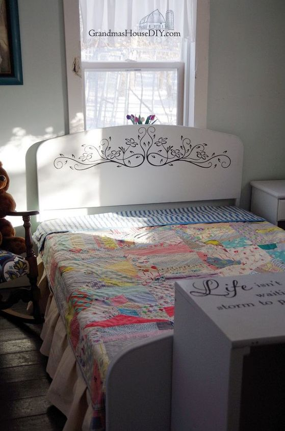 an old steel bed frame becomes a girly country dream