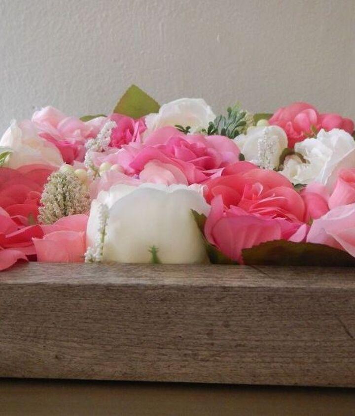 spring shadowbox faux floral arrangement