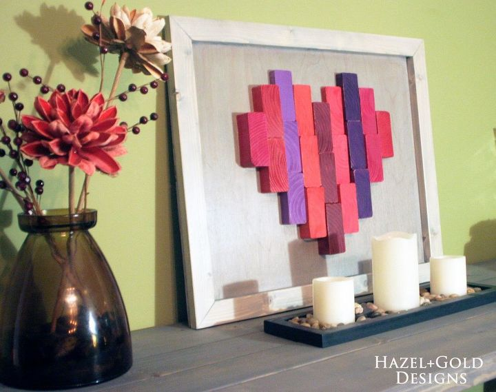 wooden end grain heart decor