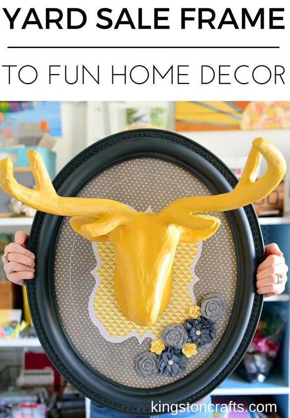 yard sale frame to fun home decor