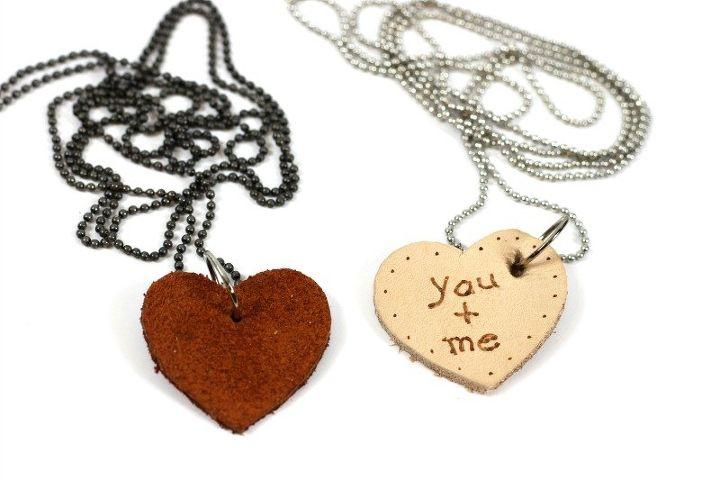 leather scraps valentine necklaces