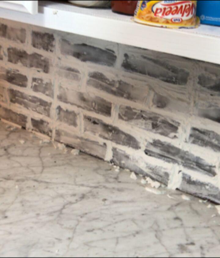 faux brick backsplash