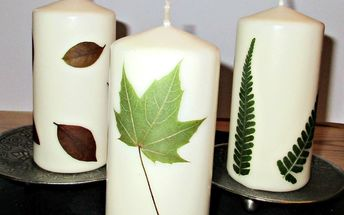 using pressed leaves to decorate candles