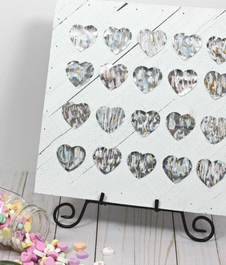 s 23 valentine s day diy ideas that you don t want to miss, Metallic Hearts Valentine Sign