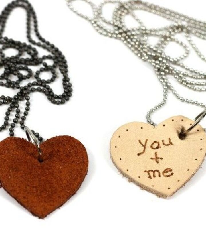 s 23 valentine s day diy ideas that you don t want to miss, Leather Scraps Valentine Necklaces