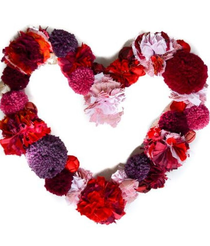s 23 valentine s day diy ideas that you don t want to miss, Pompom Heart Wreath
