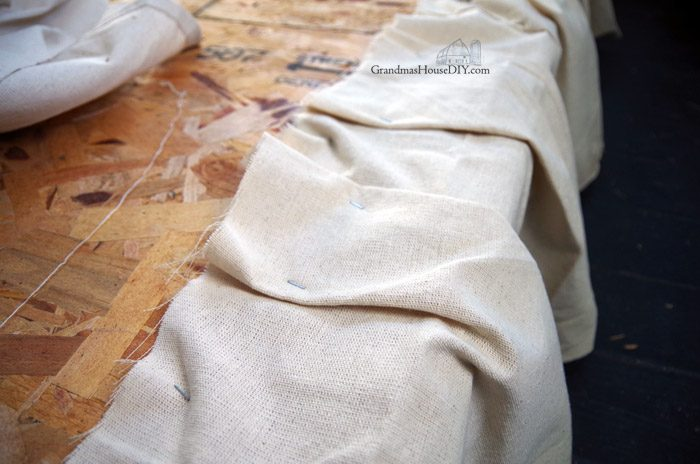 making a no sew bed skirt with canvas drop cloths