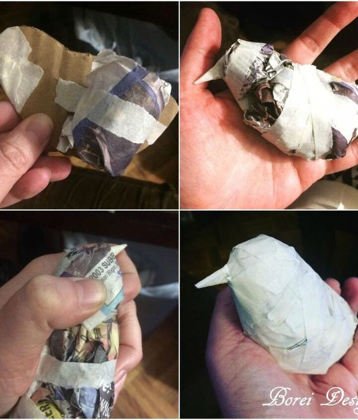 diy upcycled paper mache bird sculpture