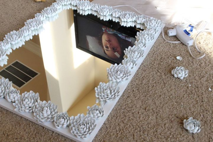 diy mirror frame makeover upcycled pistachio shell mirror