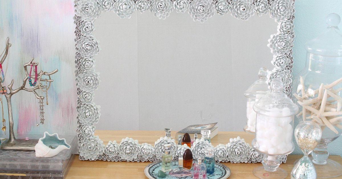 Diy Mirror Frame Makeover Upcycled Pistachio Shell Mirror Hometalk