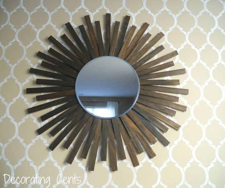 s 15 amazing things you can do with paint stirrers, DIY Sunburst Mirror