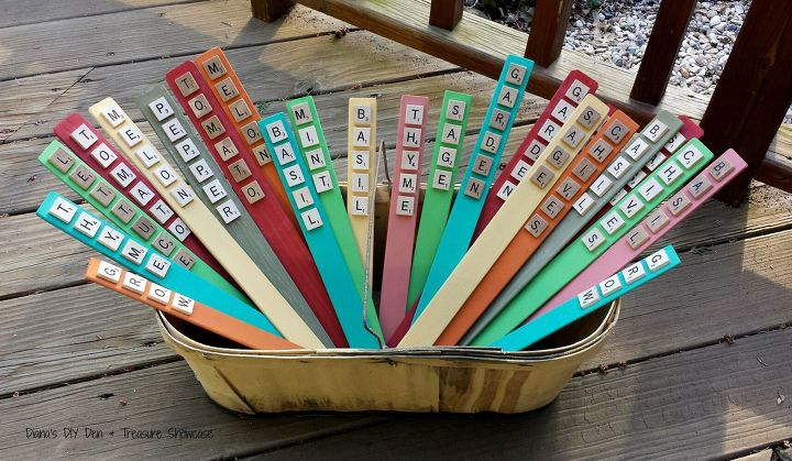 s 15 amazing things you can do with paint stirrers, Scrabble Tile Plant Markers