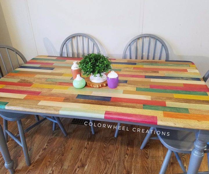 s live life in color with these amazing ideas for your home, Color Block Kitchen Table