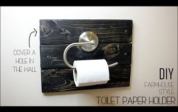how to cover a hole with a farmhouse toilet paper holder 2 lumber, Check Out The Video For a Closer Look