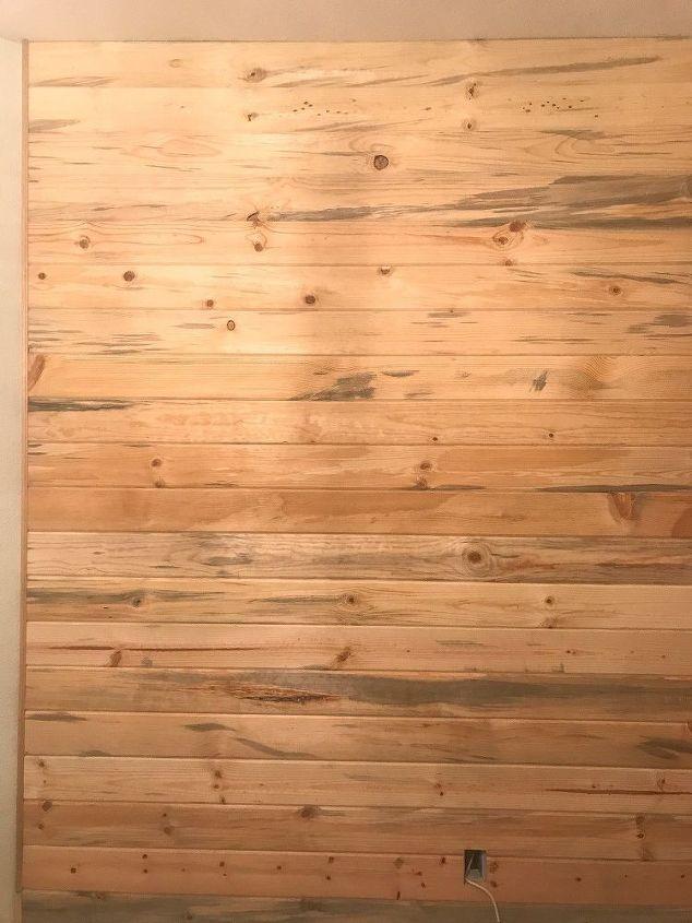 diy whitewashed plank wall