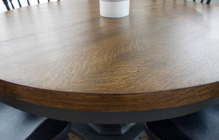 how to stain paint a pedestal table with a modern farmhouse look