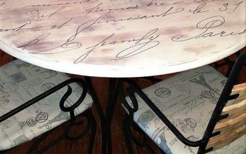 Tired Old Table to Cute French Script Dining Table
