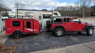 , This was my first idea for my Big Red Jeep Trailer package now I m going with the bigger cargo trailer