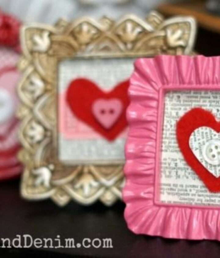 felt valentines in tiny red and pink frames