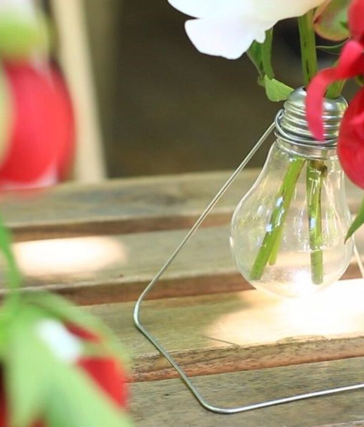 s 18 clever ways to repurpose old light bulbs, Hanging Hi tech Vase