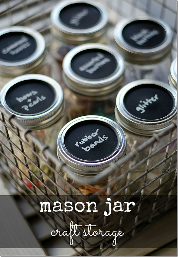 s keep your craft supplies organized with these fun storage ideas, Labelled Mason Jar Storage
