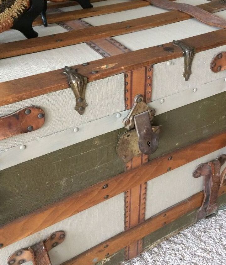 painted trunk blends with decor