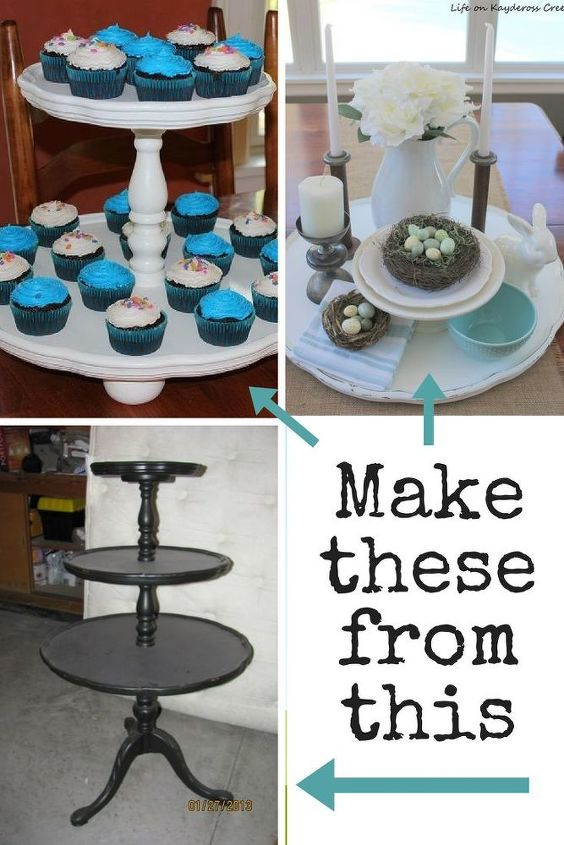 upcycle an old three tiered table into 2 new pieces