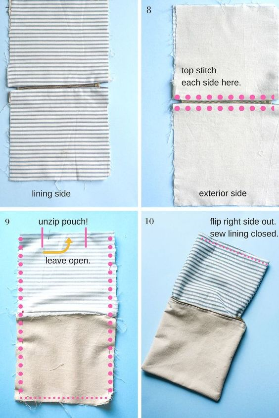 diy zipper pouch lined and made from drop cloth