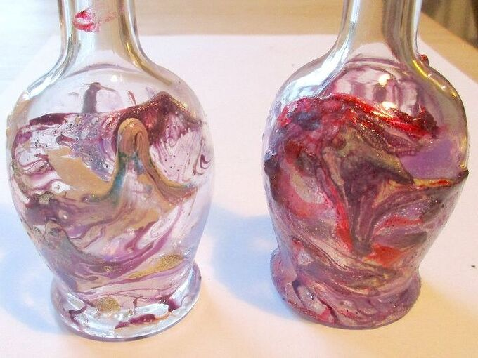 marbling glass bottles with nail polish