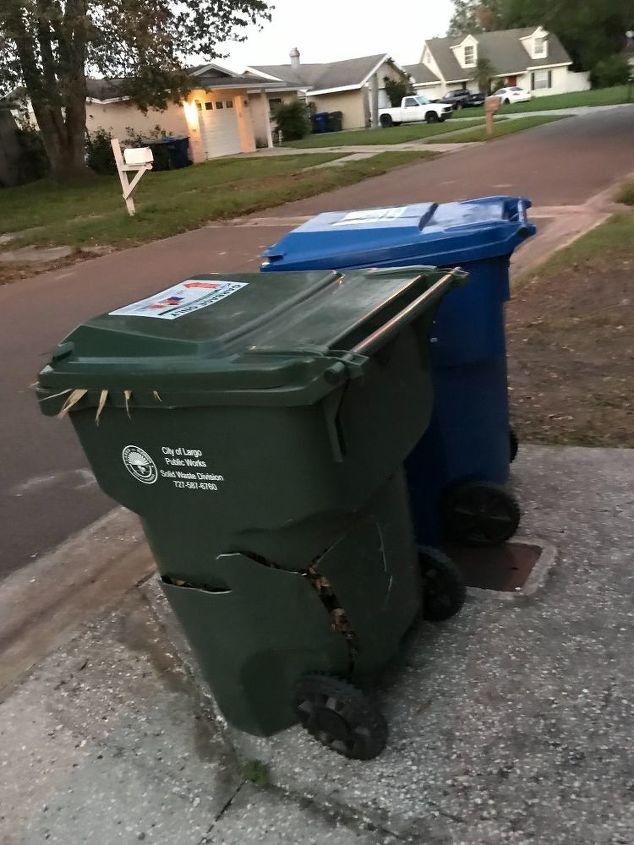 q how to hide 2 huge garbage bins