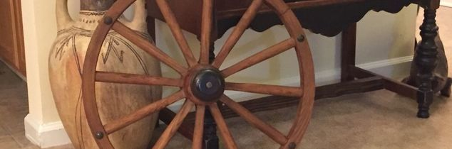 q what kind of bracket to wall mount my wagon wheel