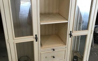 repurposed tv hutch top now a gorgeous farmhouse style cabinet, Hutch Top Before