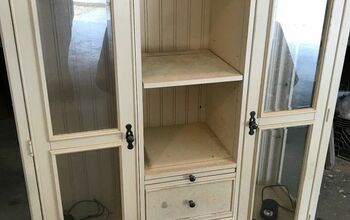 Repurposed TV Hutch Top Now a Gorgeous Farmhouse Style Cabinet