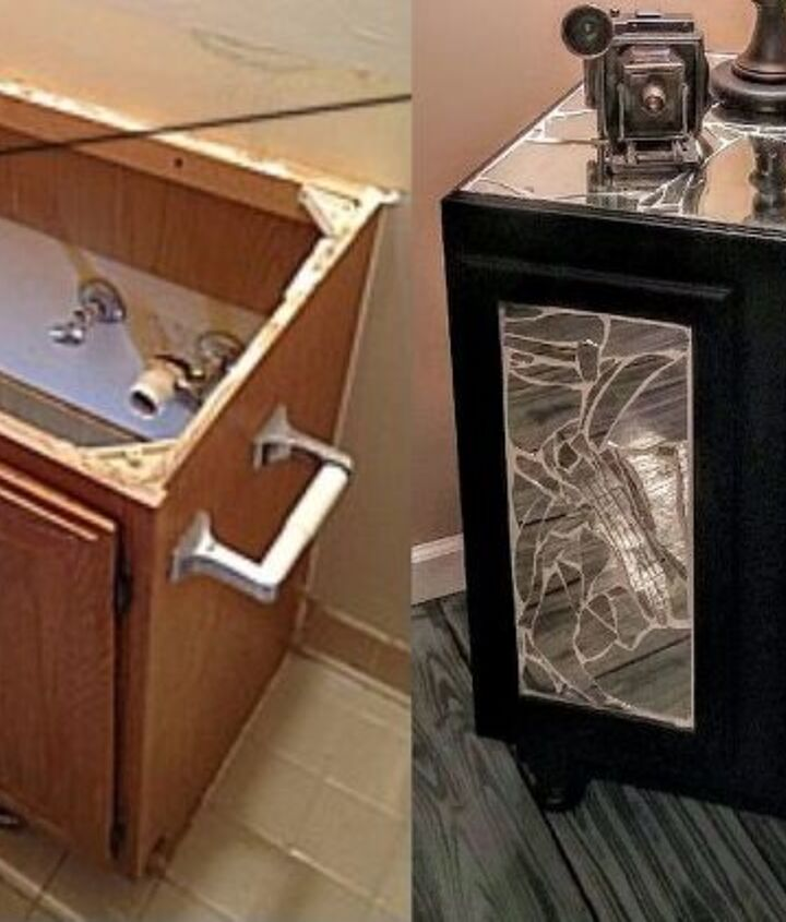 bathroom cabinet upcycled to a bright livingroom cabinet